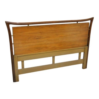 Piet Hein Walnut and Brass Full Size Headboard For Sale