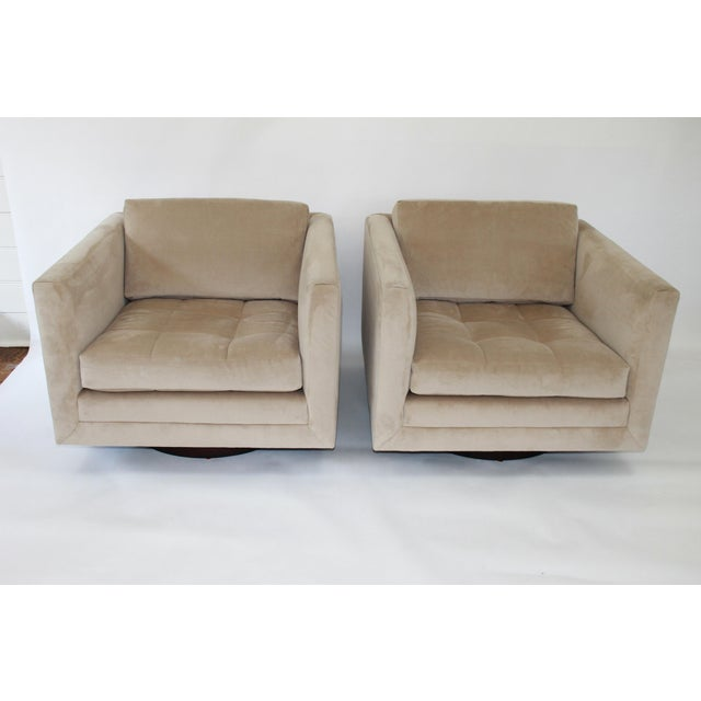 Rare pair of Harvey Probber cube chairs, model #1461. The original, round, mahogany bases have been restored and the...