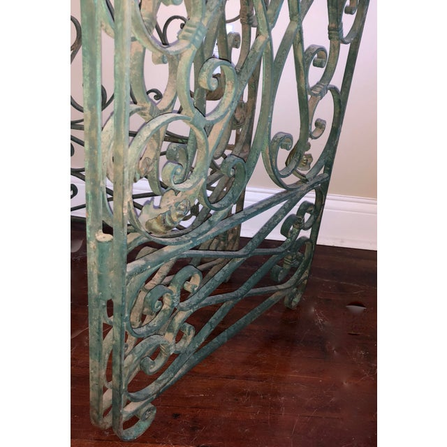 1900s Antique Green Wrought Iron Folding Divider For Sale - Image 5 of 12