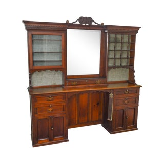 Antique Walnut Barber Shop Single Station Back Bar