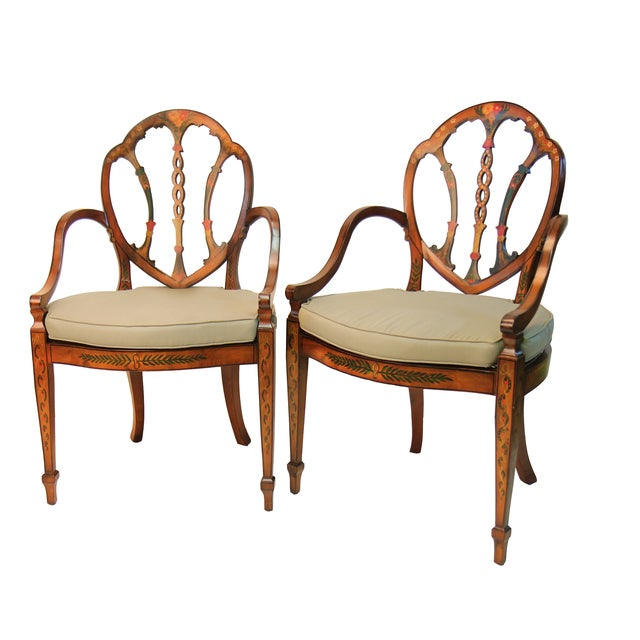 Satinwood Hand Painted Armchairs - Pair - Image 1 of 3
