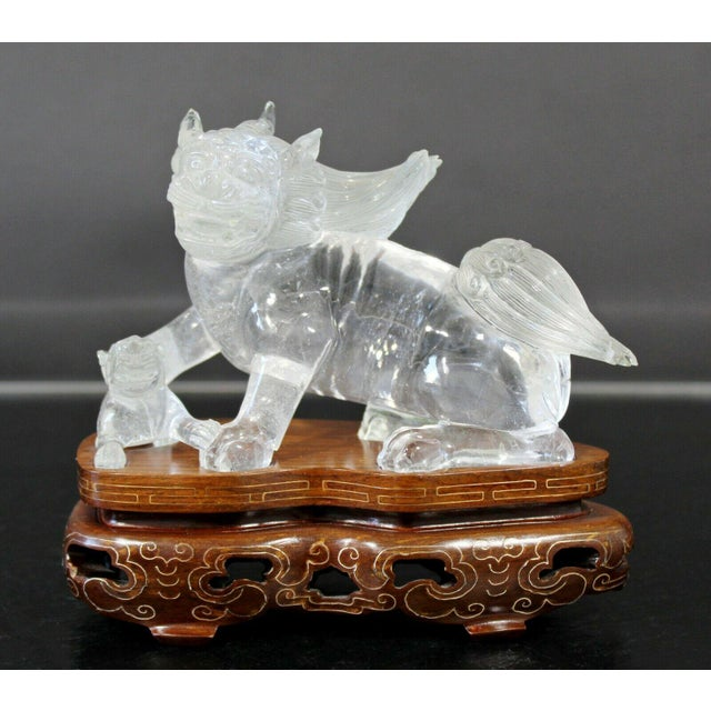 Chinese Rock Crystal Glass Fu Dog Statuette Wood Base Table Sculpture For Sale - Image 11 of 11