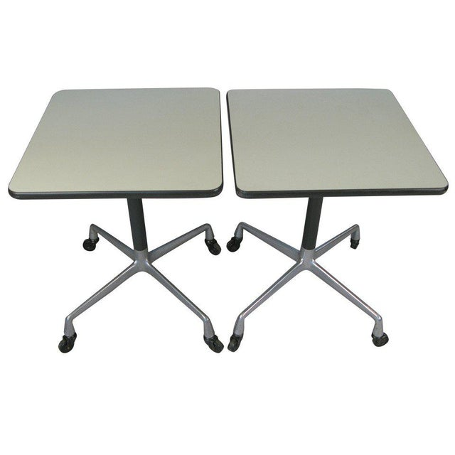White Eames for Herman Miller Aluminum Group Tables - a Pair For Sale - Image 8 of 8