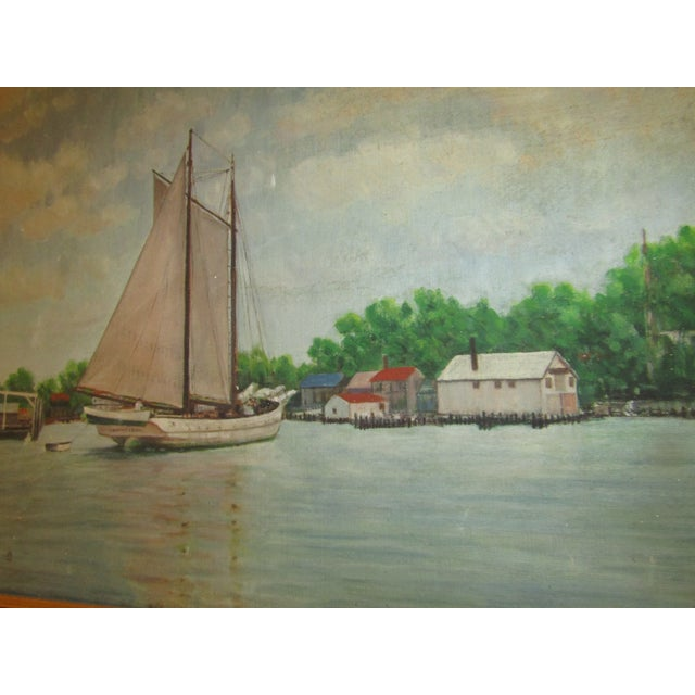 Vintage Original Signed Sailboat in a Cove Oil on Canvas - Image 4 of 5