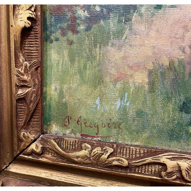 19th Century French Oil on Canvas Cow Painting in Carved Frame Signed Gregoire For Sale - Image 9 of 13