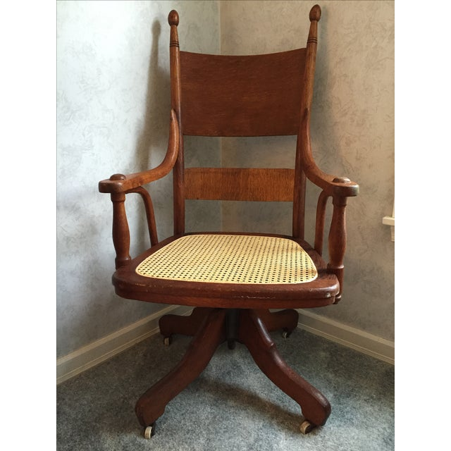 1940s Vintage Cane Office Chair - Image 2 of 8