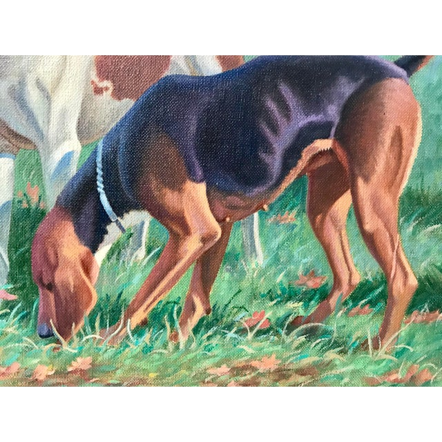 Oil Paint Three English Fox Hound Dogs Fox Hunt Oil Painting For Sale - Image 7 of 8