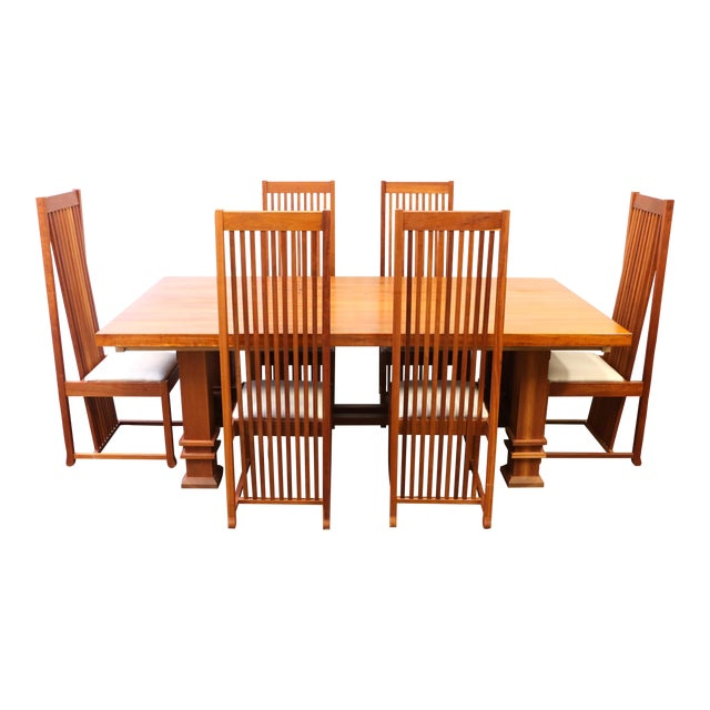 Wood Dining Room Tables And Chairs: Frank Lloyd Wright Style Cherry Wood Dining Room Table And