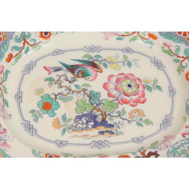 Large English ironstone poly chrome decorated platter, 19th century.