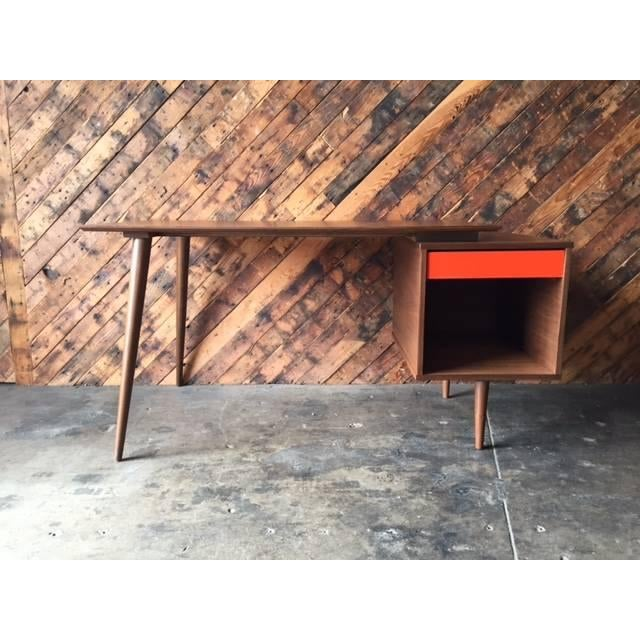 Mid-century style large walnut desk with drawer. Hand made by the Hunt Vintage in LA. Floating top, walnut wood, drawer...