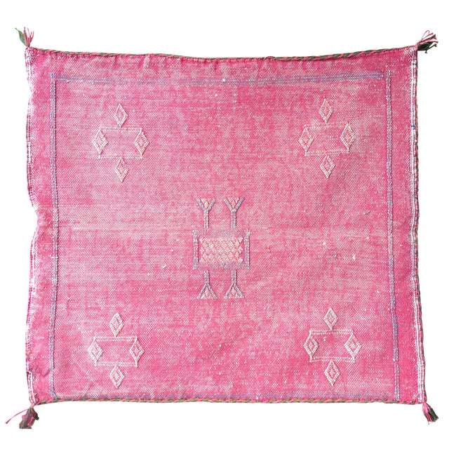 Pink Cactus Silk Moroccan Kilim Pillow Cover - Image 1 of 7