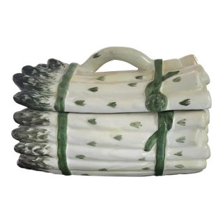 Vintage Majolica White and Green Asparagus Tureen For Sale