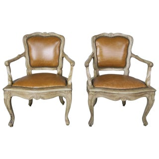Pair of French Louis XV Style Carved Bleached Walnut and Leather Armchairs For Sale