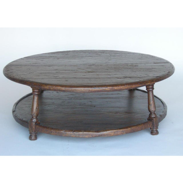 Spanish Custom Round Walnut Wood Coffee Table With Shelf For Sale - Image 3 of 10