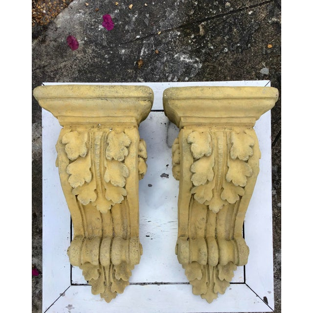 French Limestone Wall Brackets - a Pair For Sale In West Palm - Image 6 of 6