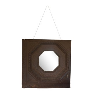 Rustic Octagonal Ceiling Tin Mirror For Sale