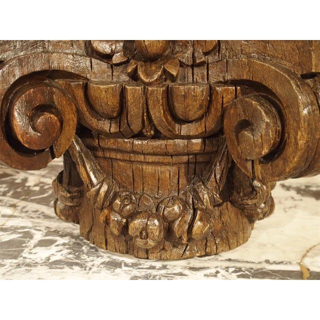 Small 18th Century French Oak Column Capital For Sale - Image 4 of 8