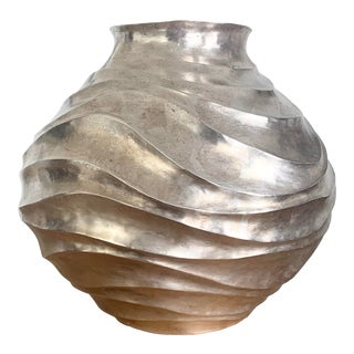 1980s Robert Kuo Modern Silverplate Vase For Sale