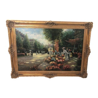 1980s Vintage Original Painting of French Street Scene For Sale