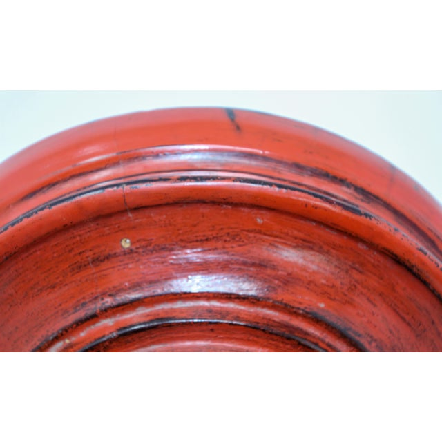 Wood Thai Red Carved Wood Temple Offering Box Basket For Sale - Image 7 of 10