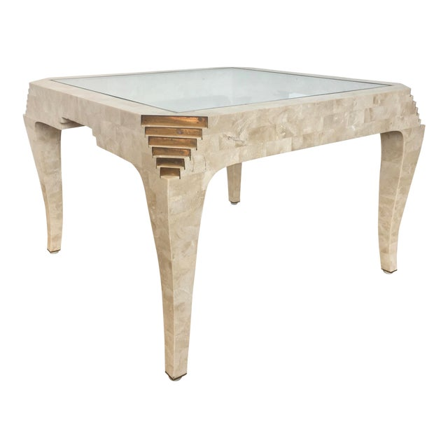 1970s Mid-Century Modern Tesselated Stone Side Table For Sale