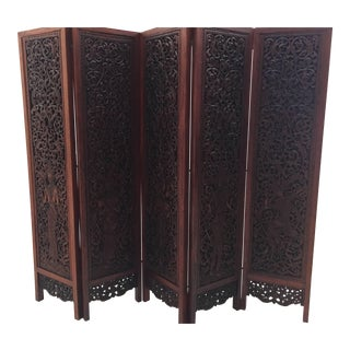 Asian Hand-Carved Wood Five Panels Double-Sided Folding Screen Room Divider For Sale