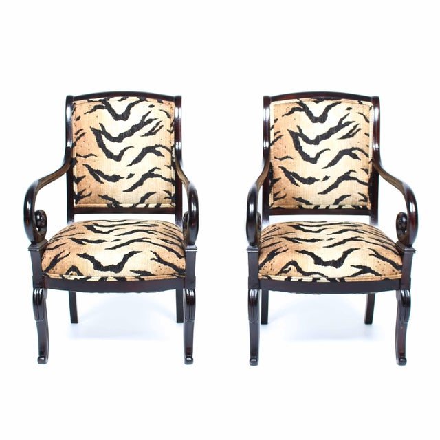 Antique Italian Armchairs With Animal Print - Pair - Image 2 of 5