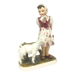 Vintage Capodimonte Porcelain Figurine of Farm Girl For Sale