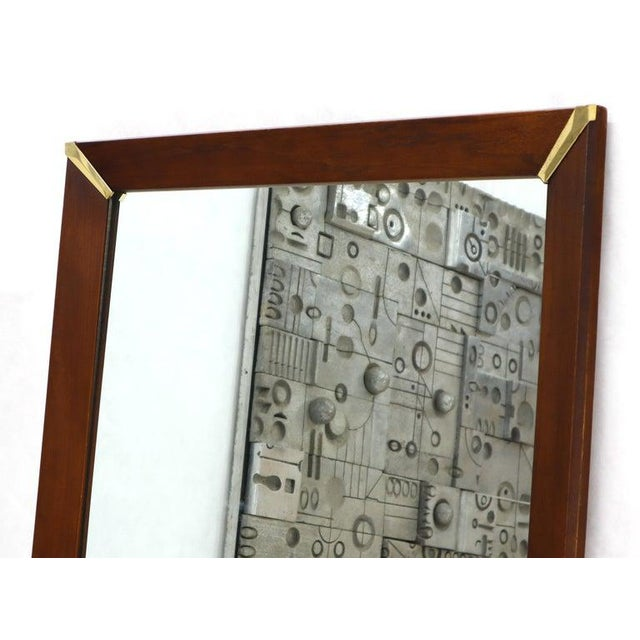 Mid-Century Modern Walnut Frame With Brass Diamond Accents Wall Mirror For Sale - Image 4 of 8