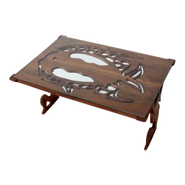 Mid century ocean theme coffee table chairish for Themed coffee tables