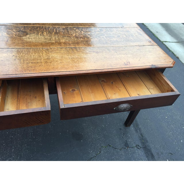 Brown Antique French Farm Table With Drawers For Sale - Image 8 of 13