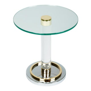 Brass and Glass Side Table by Charles Hollis Jones For Sale