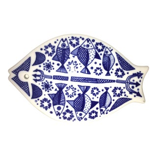 Vintage Mid Century Modern Porsgrund Norway Fish Trivet For Sale