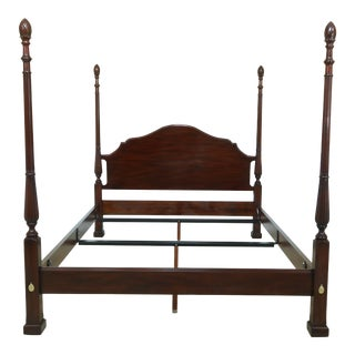 Henkel Harris Queen Size Pineapple Mahogany Bed For Sale
