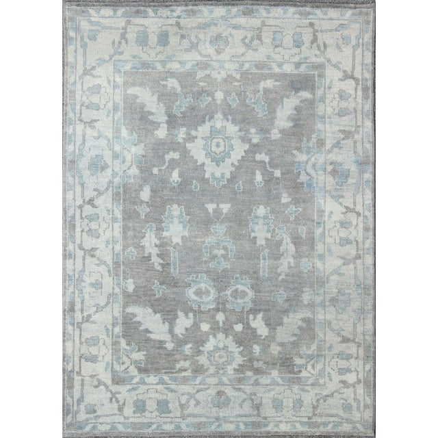 Vintage Gray Oushak Style Rug- 8′6″ × 11′6″ For Sale