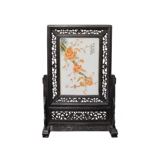 Chinese Wood Frame Porcelain Plaque Table Top Screen Display