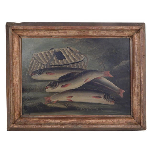 Trout and Creel Painting For Sale