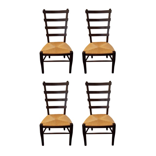 Ladder-Back Dining Chairs With Rush Seats - S/4 - Image 1 of 4
