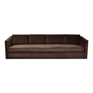 Mid-Century Chocolate Brown Sofa For Sale