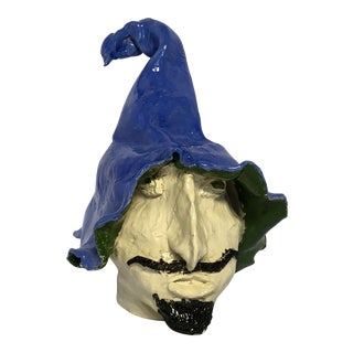 1980s Figurative Studio Pottery Witch Head For Sale