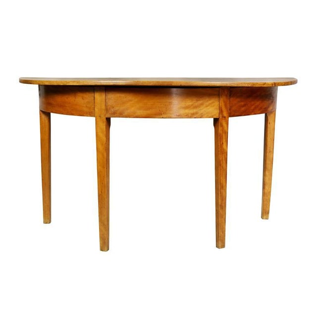 Pair of Neoclassic Birch Demilune Console Tables For Sale - Image 5 of 10