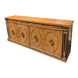 Mastercraft Empire Style Brass and Burlwood Credenza For Sale