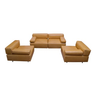 """Pair of Harvey Probber """"Cubo"""" Leather Sofas For Sale"""