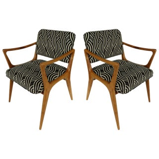Newly Upholstered Mid-Century Modern Armchairs, Pair For Sale