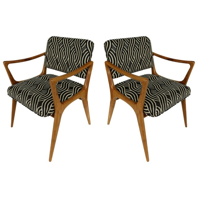 Groovy Newly Upholstered Mid Century Modern Armchairs Pair Ocoug Best Dining Table And Chair Ideas Images Ocougorg