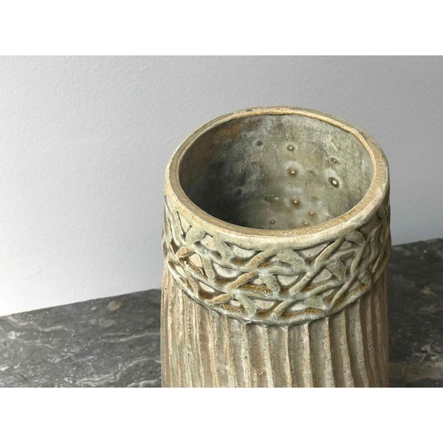 Studio Pottery Ribbed and Glazed Vase For Sale - Image 4 of 5
