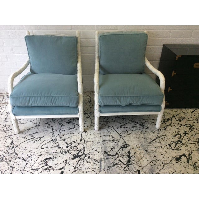 Lacquered Faux-Bios Fauteuils - A Pair - Image 2 of 7