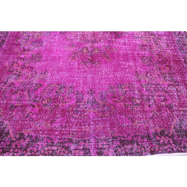 """6'4"""" X 10' Turkish Pink Overdyed Rug For Sale - Image 8 of 10"""