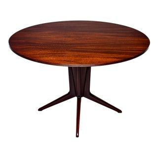 Italian Round Walnut Mid Century Dining Table For Sale
