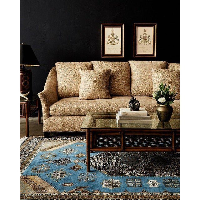 Grand four seat upholstered sofa by Jonas of New York City. This bespoke sofa features an artisan made hardwood maple...